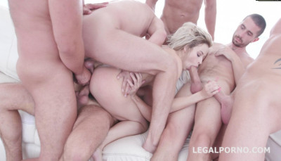 Blond Babe Ria Sun Enjoys 6on1 Double Anal Orgy With DP & Facial