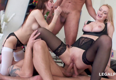 Double Anal Battle For Skinny Babes