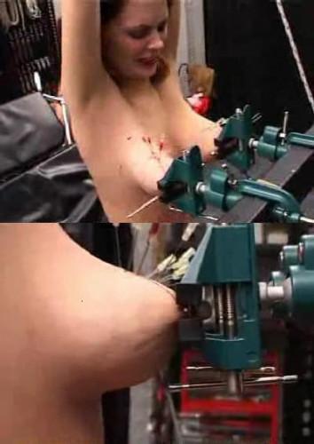 Nipples in a vice. Very cruel BDSM