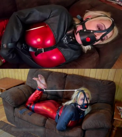 Super bondage, torment and hogtie for sexy hot blonde