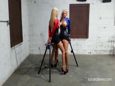 Corset-clad MILFs Sandra & Amanda endure Ballgags, Nipple Clamps