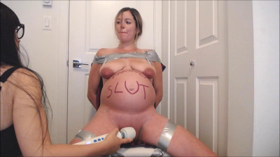 Bound Hitachi Torture for Pregnant Slut