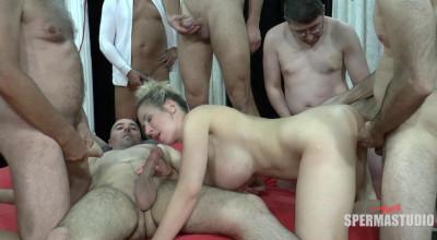 Big Tits Babe Manu Magnum In Bukkake Orgy