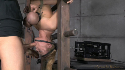 Blond Bimbo, Inverted With Automatic Cocksucking Machine Brutal Deepthroat Massive Orgasms