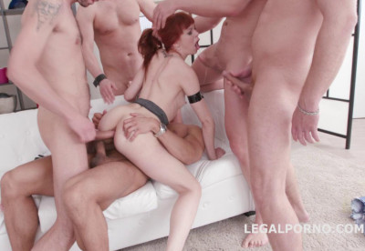 Outnumber desert orgy with DP for red head slut