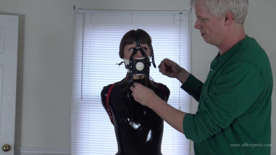 AJ Marion: Stifling Leather Strap Hogtie