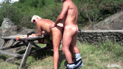Naughty Italian granny goes for a picnic and gets fucked outdoors