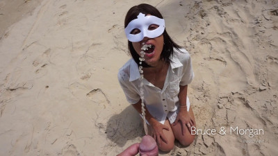 Public piss and cum facial on the beach