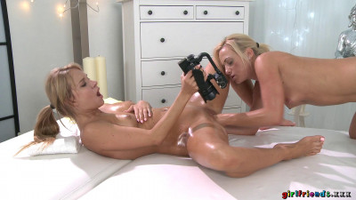 Angel Piaff, Cristin Caitlin Blonde babe's erotic fisting massage (2016)