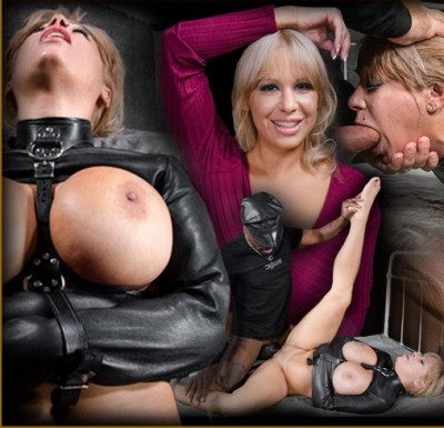 Big Breasted Alyssa Takes On Two Cocks While Bound In A Leather Straightjacket