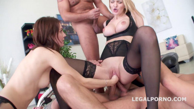 Double Anal Battle Belle Claire And Timea Bella getting 2 cocks ass Gapes Fist 720p (2016)