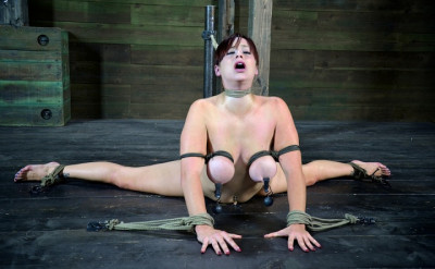 Cute Girl W HUGE Natural Tits, Bound In The Splits