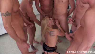 7 on 1 Gang Bang With Pissing Prolapse & DAP