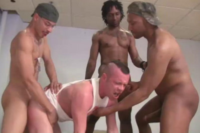 Soldier's Orgy With Black Tops