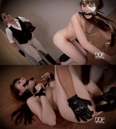 Bondage, domination, spanking and torture for naked slavegirl