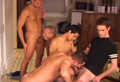 Five-man in aggressive orgy