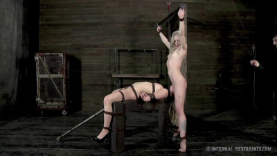 Later On, Bent Over A Bar, Their Hands Are Cuffed Behind Their Knees