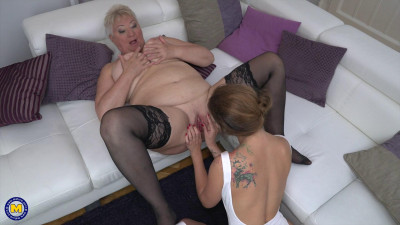 Description Horny grandma gets a taste of a young and juicy pussy