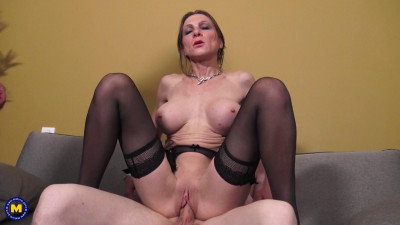 Sixtine (EU) (40) – Horny French cougar letting two repair men fuck her in the ass