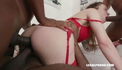 Crazy interracial gangbang with squirting & DP