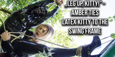 """Leg Up, Kitty"" – Amber Ties Latex Kitty To The Swing Frame"