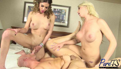 TS girlfriends fuck their submissive man