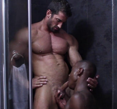 Interracial Shower Fuck With Muscle Males