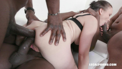 Sexy Babe Destroyed By Many Big Black Cocks With Brutal Double Anal