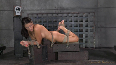 BDSM English rose Ava Dalush bound down on fucking machine, brutal drooling deepthroat !