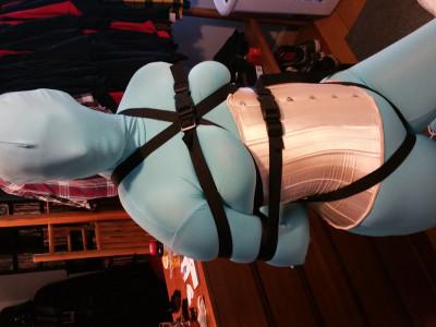 Samantha - Tied Up In Blue Zentai
