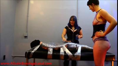 Flashback Friday – Layered Pantyhose Tape Mummification Bondage Handjob Pt 3