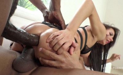 Raw interracial anal & DP with 2 massive black cocks for russian babe