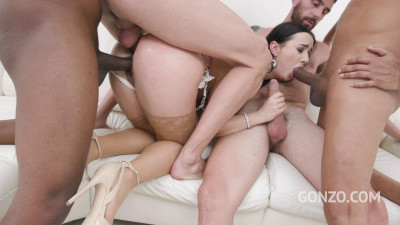 Lady Gang swallows three anal creampies after four guys