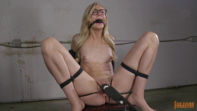 Description Sexy Blonde Librarian Bound and Cumming