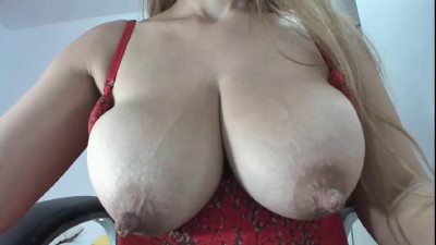 Big boob milf in red lingerie showing her tits