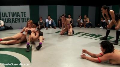 RD 3/4 of Feb's Live Tag Team Match: Brutal action, devastating scissor locks, scarf chokes. HOT!