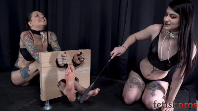 Description Bare Feet Trapped, Smacked, Tickled and Teased in Wooden Stocks