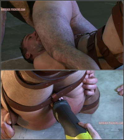 Naked and bound on the floor, facefucked till he gags, legs suspended to reveal his arsehole