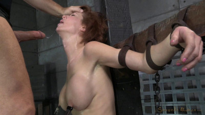 Stunning busty MILF Veronica Avluv does brutal drooling deepthroat while crucified on a sybain!