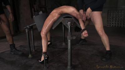 Exotic newbie Mia Austin tightly bound in back arch