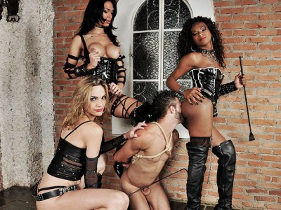 Spectacular TS Domme Trio In Action - domination, trio, domina.