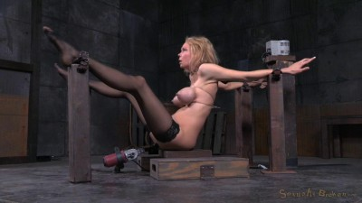 Big Breasted Blonde Rain DeGrey Belted Down On Fucking Machine With Drooling Deepthroat On BBC