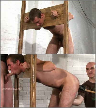 Guy9-l - Held in stocks, bare handed spanking, flogged and caned