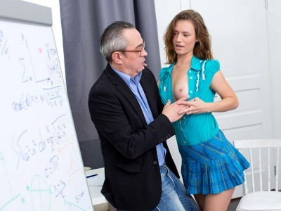 Description Slutty student has sex with horny teacher