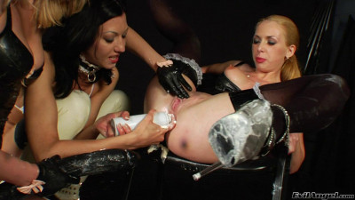 Milk enema threesome