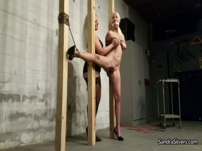 Open Leg Pole Tie for Naked, Blond Sex Slave, as Domme Delivers Intense