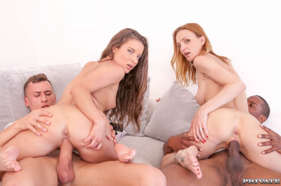 Belle Claire and Anita Bellini, interracial orgy with DP