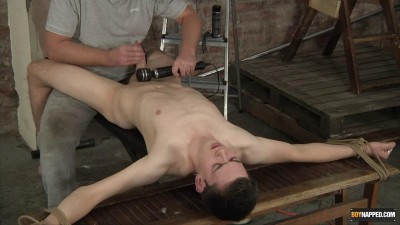 BoyNapped - Vibrating The Cum From His Cock