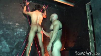 BoundArea — Tough SM Stud Handles His Nude Cuffed Twink