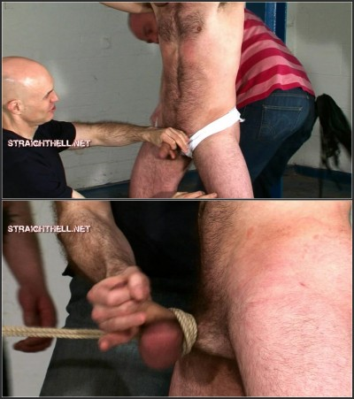 Fraser3-l - Wrists bound and ankles shackled in a leg-spreader